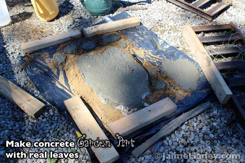 homemade concrete leaf for garden art