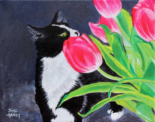 Black and white Tuxedo cat smelling pink tulips painting