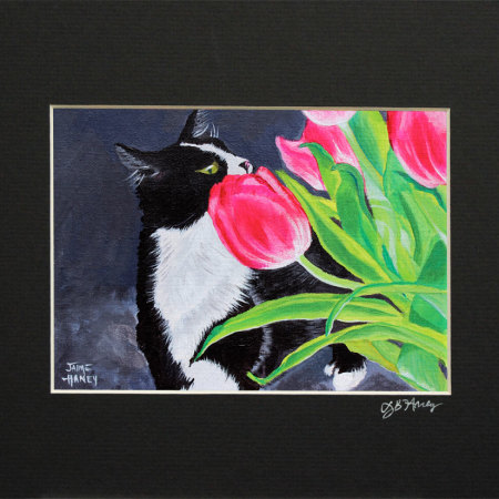 """Matted print of my painting titled """"My Funny Valentine"""" of a black and white tuxedo cat smelling pink tulips"""