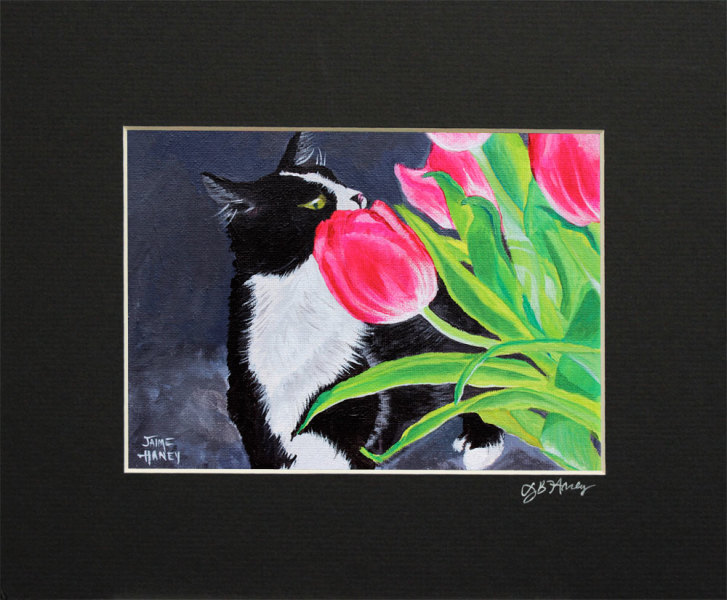 "Matted print of my painting titled ""My Funny Valentine"" of a black and white tuxedo cat smelling pink tulips"