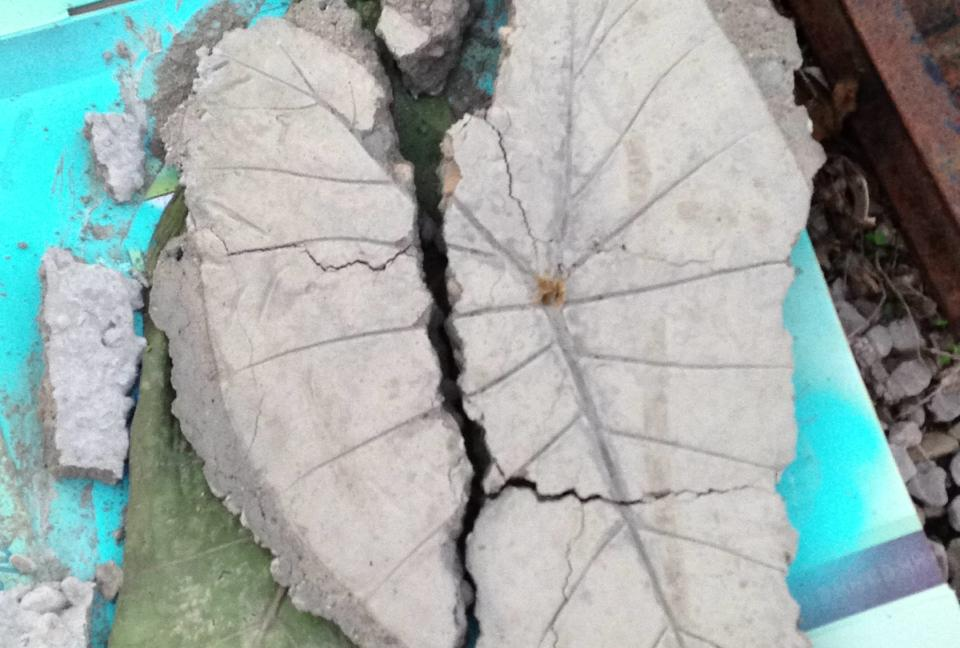 broken concrete leaf garden art
