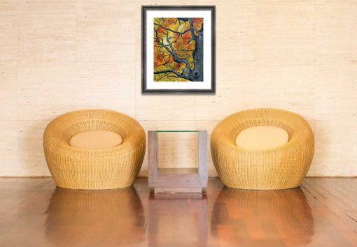 Tangled vibrant autumn leaves painting shown in room setting