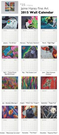 2015 wall calendar with paintings by Jaime Haney on each month