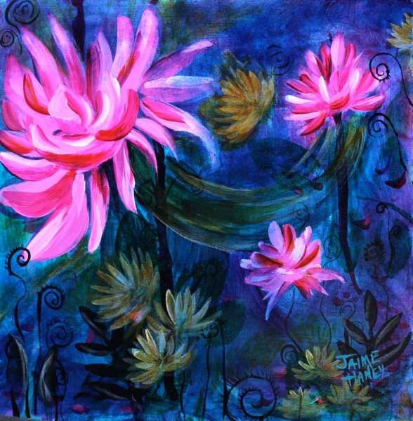 Lotus flower and seaweed ribbons adorn this made up under water fantasy