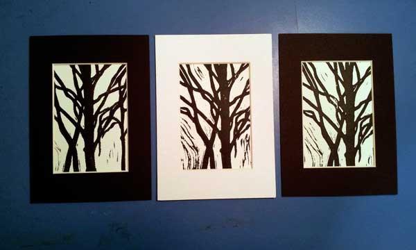 Contemporary black & white mono prints.