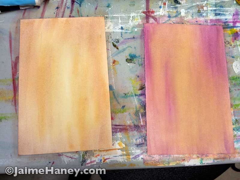 pink and yellow background washes on paper