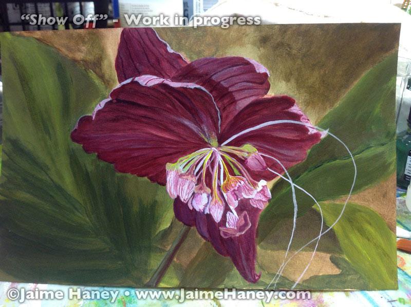 tweaking the painting of a Black Bat Flower