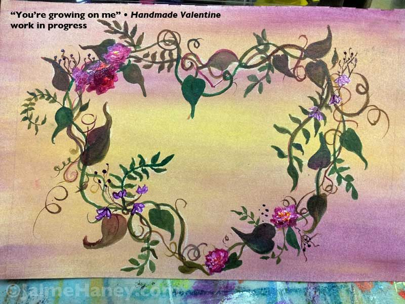 heart with painted vines, leaves and flowers work in progress