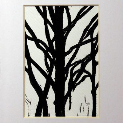 black tree mono-print with white mat