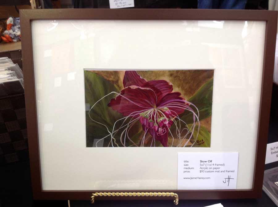 framed original painting of Black Bat Flower