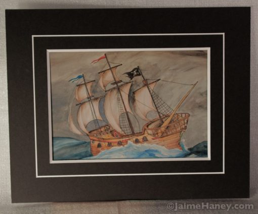 black, double matted print of Ghost Pirate wooden ship