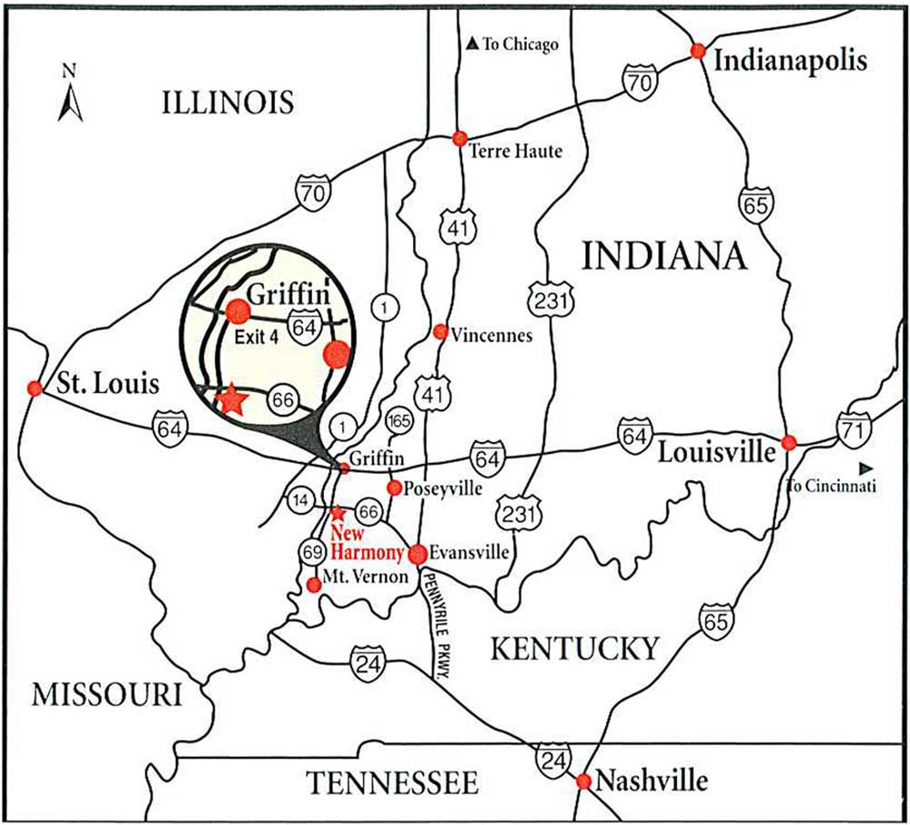 Map showing where New Harmony Indiana is in the Tri-State of IN, KY and IL