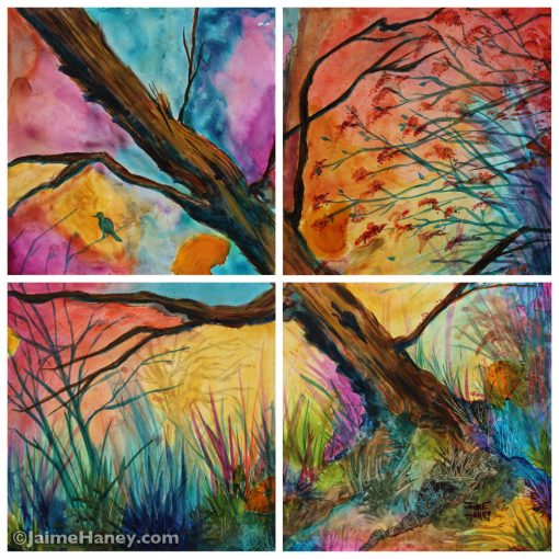 painting of tree with a colorful sky