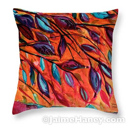 throw pillow with my painting titled Underneath on it