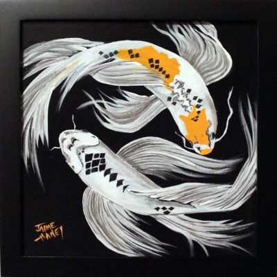 "Framed Koi Fish Painting ""Harlequin Dance"""