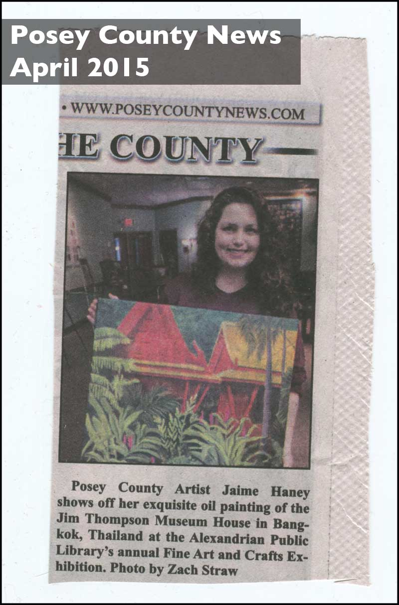 Posey county News Clipping of Jaime Haney holding painting