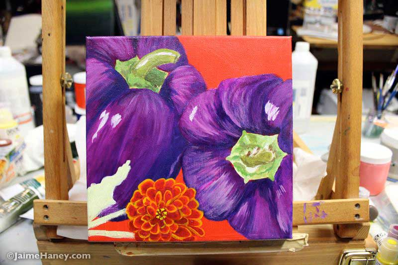 work in progress photo of purple peppers painting