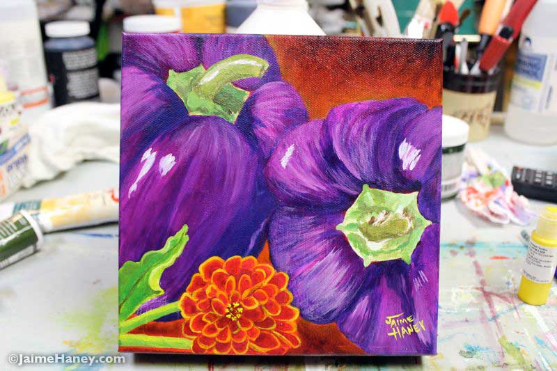 finished! photo of purple peppers painting titled Summer of Purple