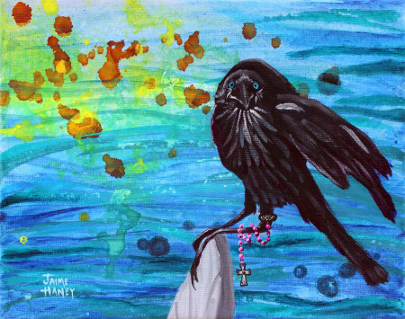 "Beach Crow Muse painting on 10""x8"" canvas"