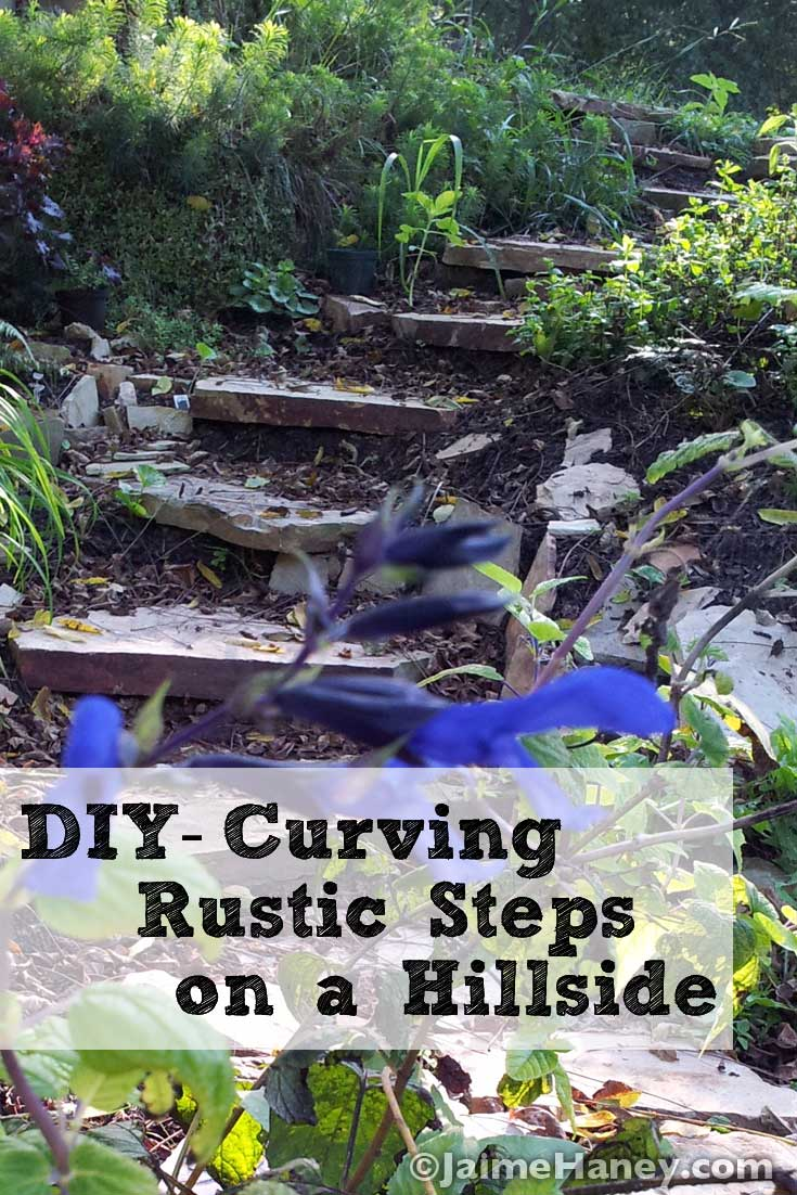 Carving rustic stone steps out of hillside with flagstone How to landscape