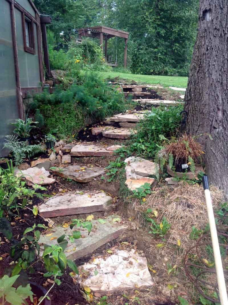 looking up at the finished rustic stone steps