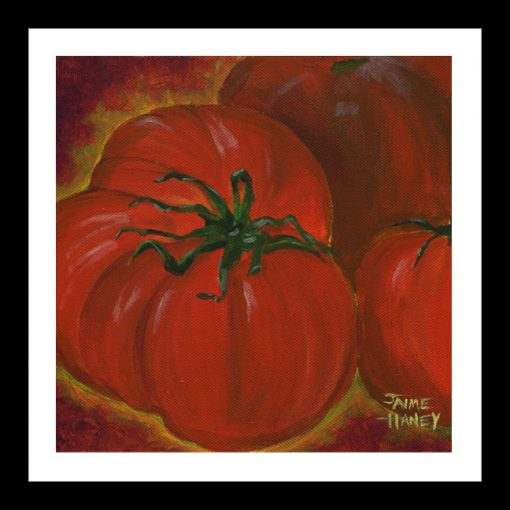 Lots of Red heirloom tomato painting print shown in black frame