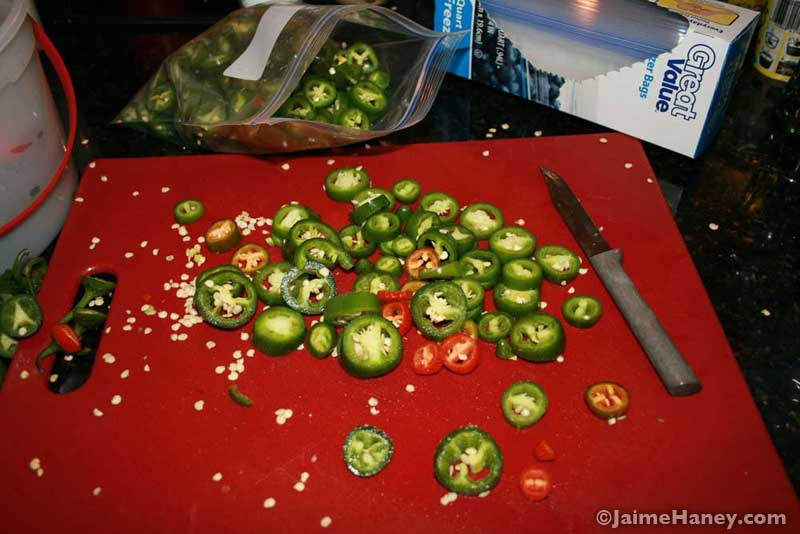 slicing up jalapenos