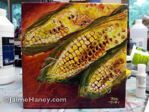 Finshed and signed painted corn