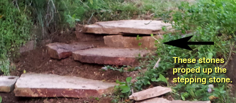 detailed view of the small riser stones propping up large stepping stones