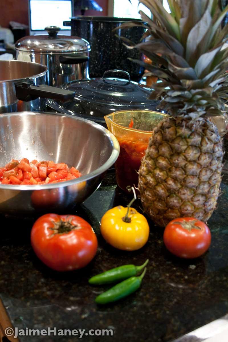 makings of pineapple salsa