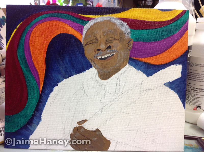 painting in progress of B.B. King
