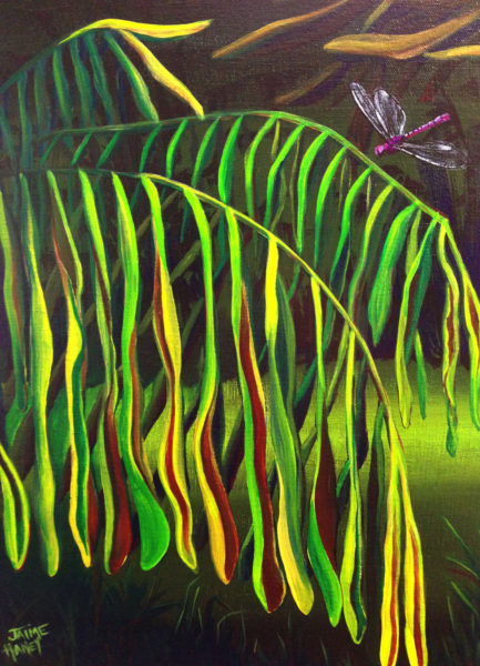 Tropical leaf painting in abstract landscape