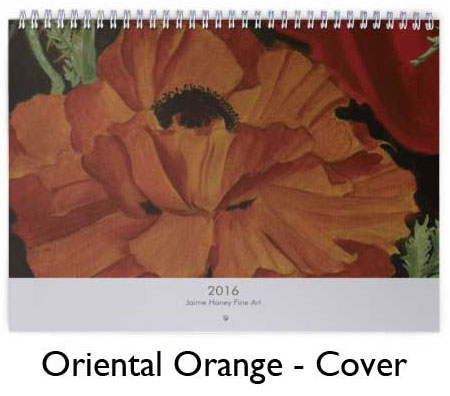 Orange Oriental Poppy Painting on calendar