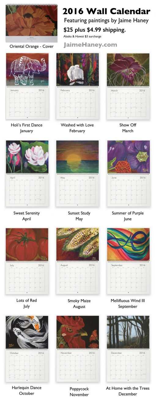 different paintings for each month of 2016 calendar