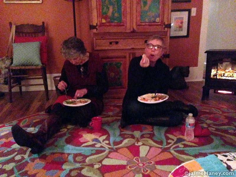 eating together on the floor for Winter Solstice Celebration