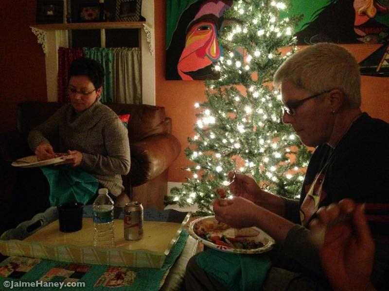 eating together for Winter Solstice Celebration