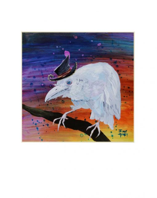 white raven wearing a whimsical hat painting in a mat