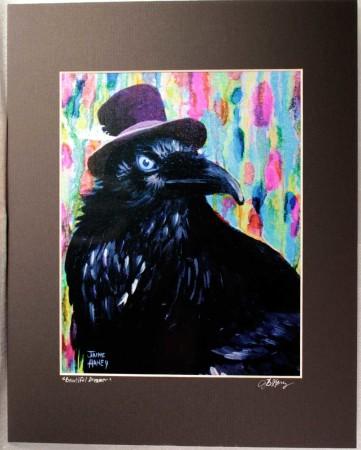 raven wearing purple velvet hat painting