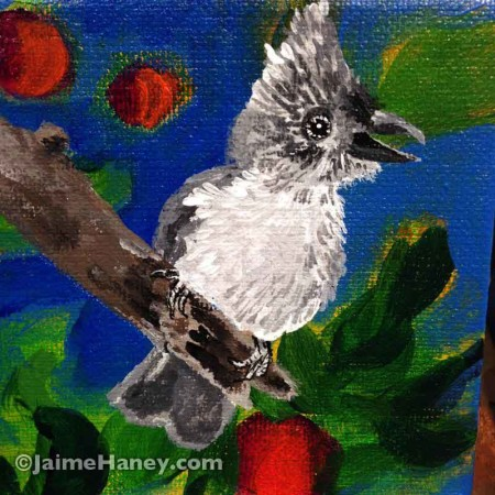 painted baby tufted titmouse