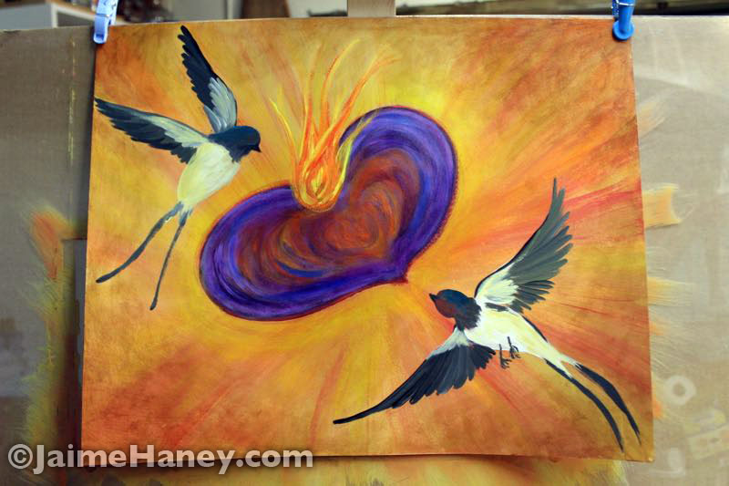 two birds and a sacred heart painting