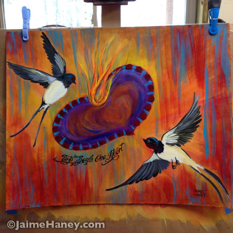 finished painting with swallows and sacred heart
