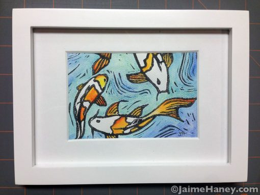 Koi fish hand pulled, hand embellished monoprint. Frame not included