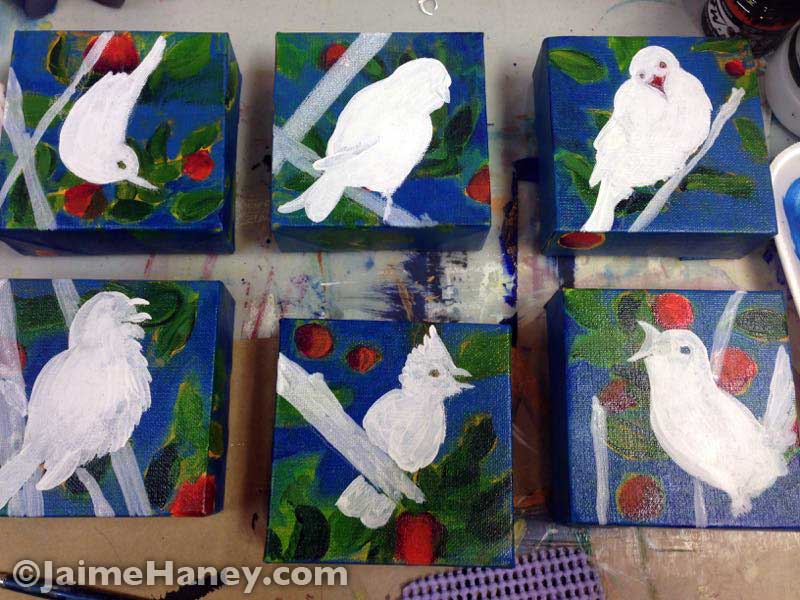 birds painted in with gesso