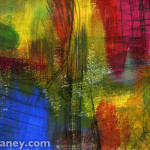 abstract swashes of blue, yellow and magenta