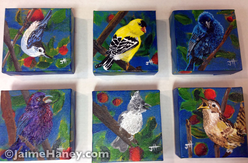 """series of six painted little birds on their own 4""""x4"""" canvas"""