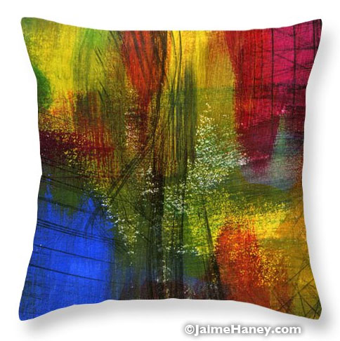 abstract painting printed on pillow