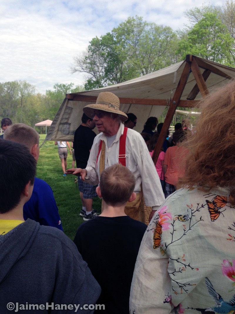 Irv Rueger a bee keeper teaching about why bees are important at the Heritage Artisans Days in New Harmony Indiana 2016