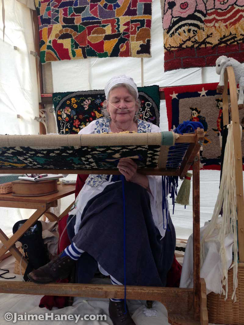 Cleo Stock demonstrating how to make hook rugs at the Heritage Artisans Days in New Harmony Indiana 2016
