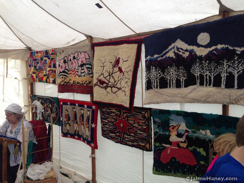 Cleo Stock's handmade hook rugs at the Heritage Artisans Days in New Harmony Indiana 2016