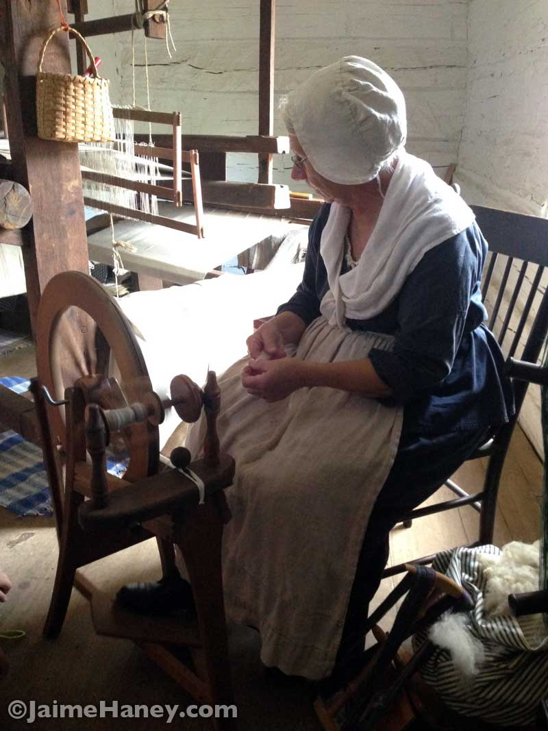 Peggy Taylor spinning wool during Heritage Artisans Days in New Harmony Indiana 2016